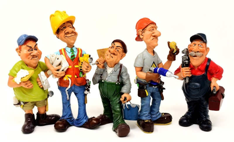 Cartoon images of construction site workers